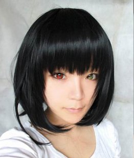 Another Misaki Mei Cosplay Costume Short Black Wig free shipping