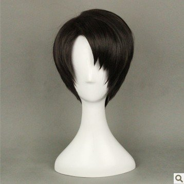 NEW Attack on Titan Levi Short black brown cosplay wig