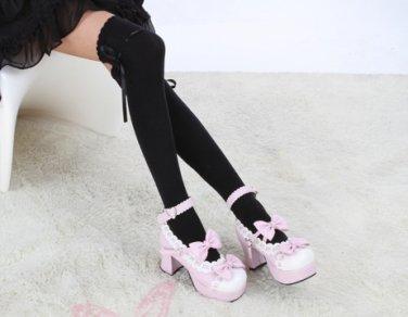 Hot Sell Japanese School Girl uniform over knee Cosplay lolita black  Sock Hose Stocking