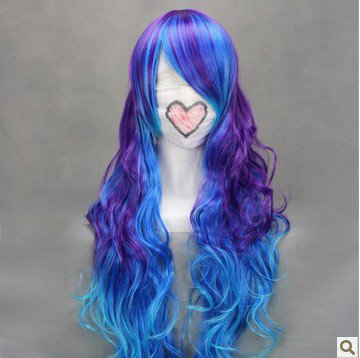 VOCALOID ANTI THE�HOLiC luka  80cm long curly purple blue cosplay wig
