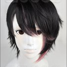 devils and realist Dantalion Huber short black pink gradient color cosplay full wig