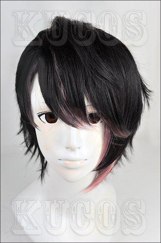 devils and realist Dantalion Huber short black pink gradient color cosplay full wig