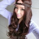 Fashion Japanese Harajuku Zippe brown long wavy Lolita Kawaii Halloween Cosplay Party Wig