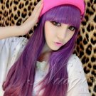 Fashion Japanese Harajuku Zippe purple mix long wavy Lolita Halloween Cosplay Party Wig