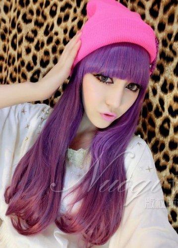 Fashion Japanese Harajuku Zippe purple mix long wavy Lolita Halloween Cosplay Party Wig