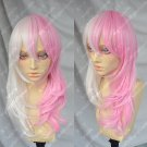 The projectile / pink white bear / half pink half white, special curly Monod beauty /cos wig