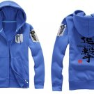 Investigation Corps Attack on Titan Anime Unisex blue Attack Cosplay Costume Zip Hoodie