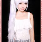 NEW RWBY White Trailer long silver white mix light blue curly costume cosplay wig