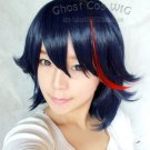Kill la kill Medium Deep blue mix red straight cosplay cos wig+Free Wig Cap