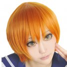 LOVE LIVE Hoshizora Rin short orange costume Cosplay wig + wig cap