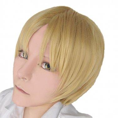 Natsume Yuujinchou Natsume Takashi Flaxen Golden Cosplay Wig+free Shipping+free Wig Cap