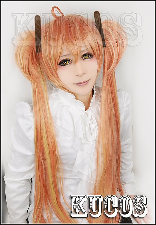 Black Bullet Aihara Enju golden gradient 100cm Cosplay wig+free shipping