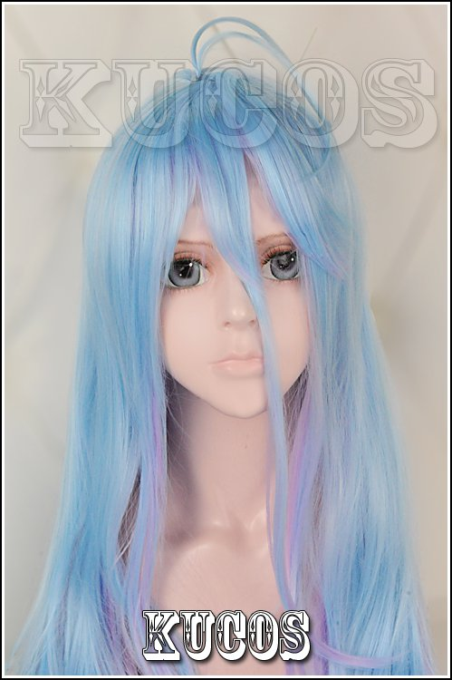 No game no life White light blue purple gradient 100cm Cosplay wig+free shipping