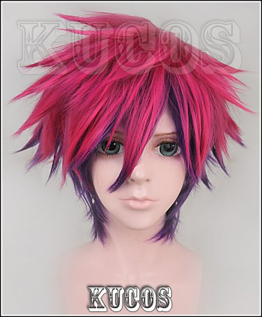 No game no life Sora Rose red purple gradient Cosplay wig+free shipping