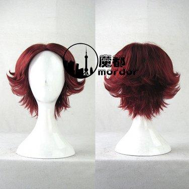 The Prince of Tennis Kikumaru Eiji wine red Cosplay wig+free shipping