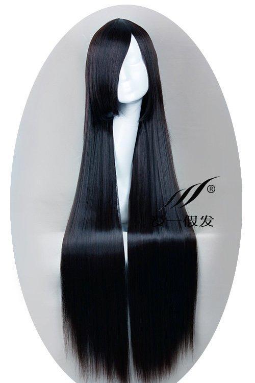 Puella Magi Madoka Magica Akemi Homura black 100cm Cosplay wig+free shipping+Free Wig Cap