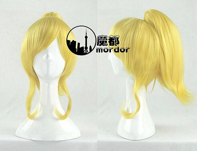 Love Live! Ayase Eri golden ponytail Cosplay wig+free shipping+Free Wig Cap