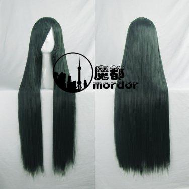 Hitman Reborn Yuni / Uni dark green black 100cm Cosplay wig+free shipping+Free Wig Cap
