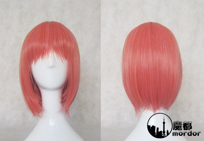 Mawaru-Penguindrum Oginome Momoka pink orange Cosplay wig+free shipping+Free Wig Cap