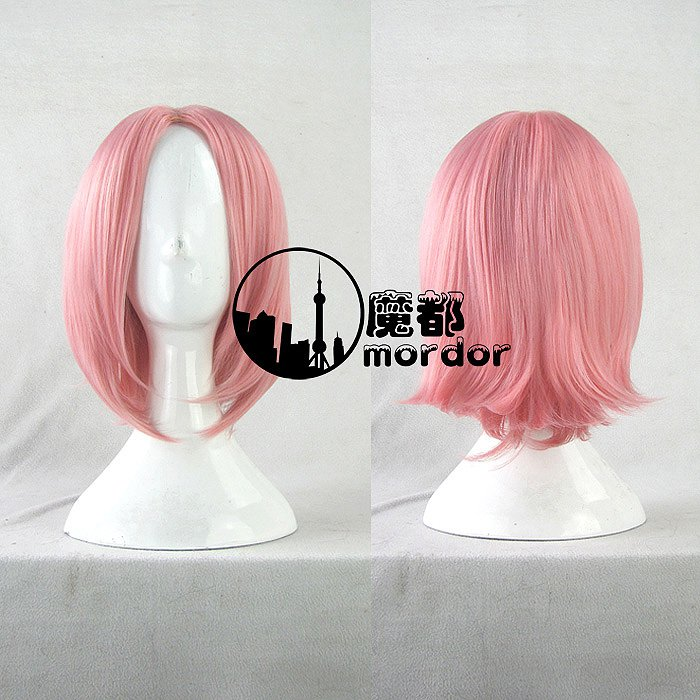 Naruto Haruno Sakura pink Cosplay wig+free shipping+Free Wig Cap
