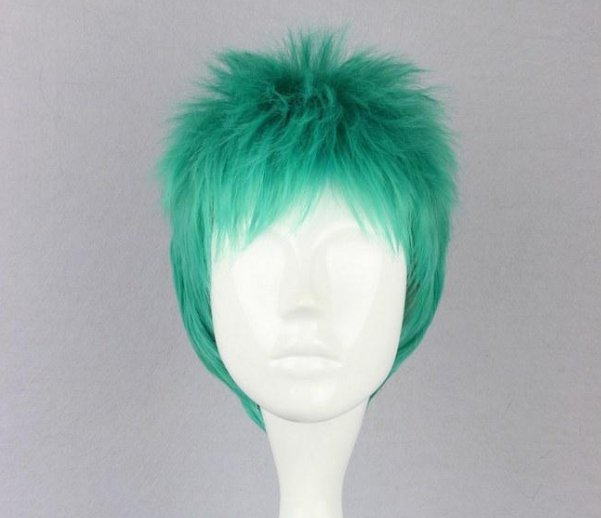 One Piece Roronoa Zoro blue green mix Cosplay wig+free shipping+Free Wig Cap