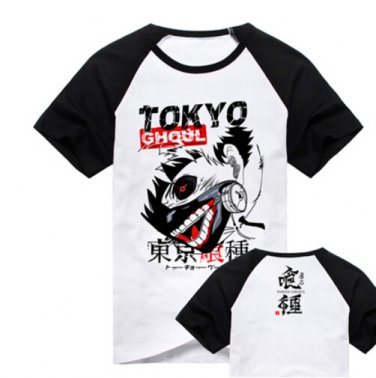 New Tokyo Ghoul Kaneki Ken anime cosplay Halloween short sleeve T-shirt black A