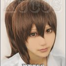 Spirited Away Ogino Chihiro brown Cosplay ponytail wig+free shipping+Free Wig Cap