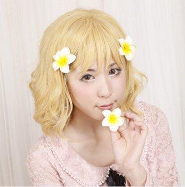 HanaSaku Iroha Ohana Matsumae Blonde Flax Brown Cosplay Costume Wig