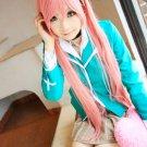 Rosario+Vampire Moka Akashiya dark pink Cosplay wig+free shipping+Free Wig Cap