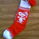 Peanuts Gang Snoopy red and white knit Christmas stocking