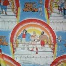 "VINTAGE HULK HOGAN'S ROCK 'N' WRESTLING TWIN SIZE FLAT BED SHEET 65"" x 93"" HULK HOGAN"