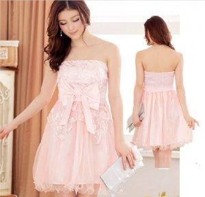 Free Shipping Super excellent Strapless evening dress plus size bow Pink dress D3J113P