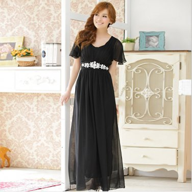 Beau was thin Ruffled Sleeve Austrian Diamond Long evening gown Plus Size Dresses D2J621BK