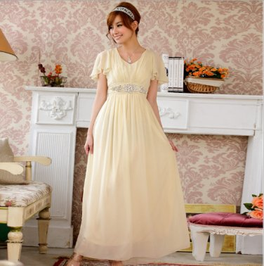 Beau was thin Ruffled Sleeve Austrian Diamond Long evening gown Plus Size Dresses D2J621CH