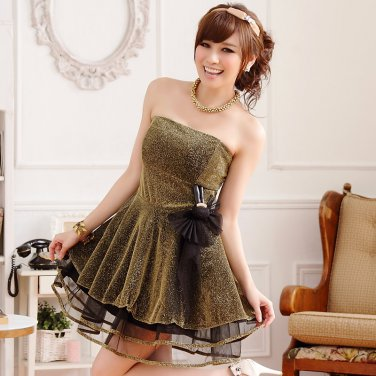 Free Shipping Banquet gold mesh strapless gown sexy dress D2J617G