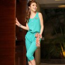 Free Shipping women's fashion round neck chiffon Elastic Pants Jumpsuit D2J633G