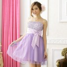 Free Shipping European plus size evening dress bridesmaid Strapless  Gauze formal dress D2J616P