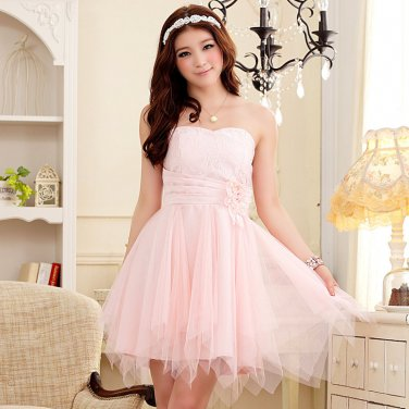 Free Shipping Vogue ladies Romantic Honeymoon flower bud Strapless Evening gown dress D2J645P