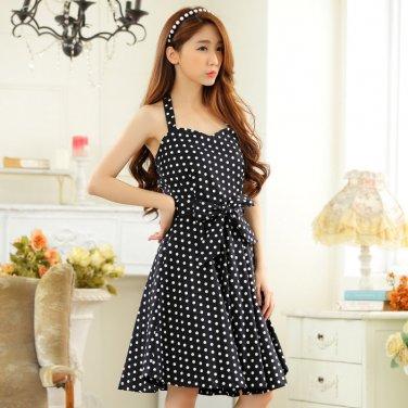 Free Shipping women plus size V-neck halter dress D2J656BK