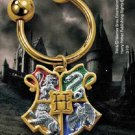 Harry Potter Hogwarts House Crest Keychain Gift 24K Gold Plated Noble Collection