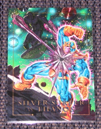 Marvel Masterpieces 1992 (SkyBox) Spectra Card 2-D - Silver Surfer vs. Thanos EX
