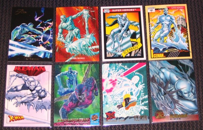 Iceman Cards- X-Men Marvel Flair Masterpieces Chromium- Lot of 8 NM-M