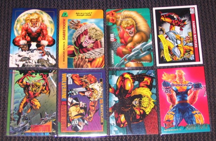 Sabretooth Cards- X-Men Marvel Overpower Universe Wolverine- Lot of 8 NM-M