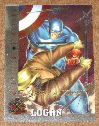 X-Men All Chromium, Fleer Ultra 1995 - Gold-foil Signature Card #80- Logan NM