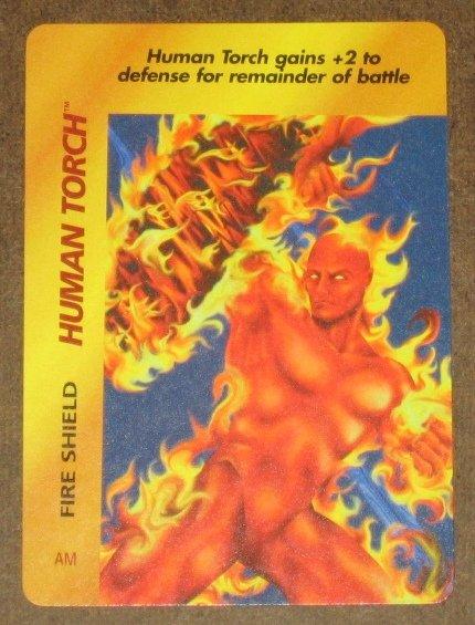 Marvel OverPower (Fleer 1995) - Human Torch Fire Shield Card EX-MT