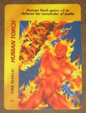 Marvel OverPower (Fleer 1995) - Human Torch Fire Shield Card EX-MT