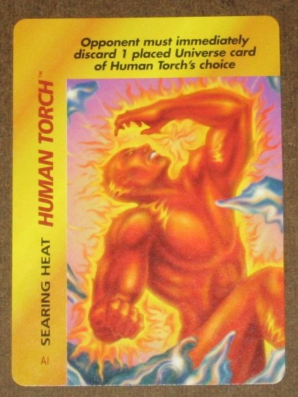 Marvel OverPower (Fleer 1995) - Human Torch Searing Heat Card EX-MT
