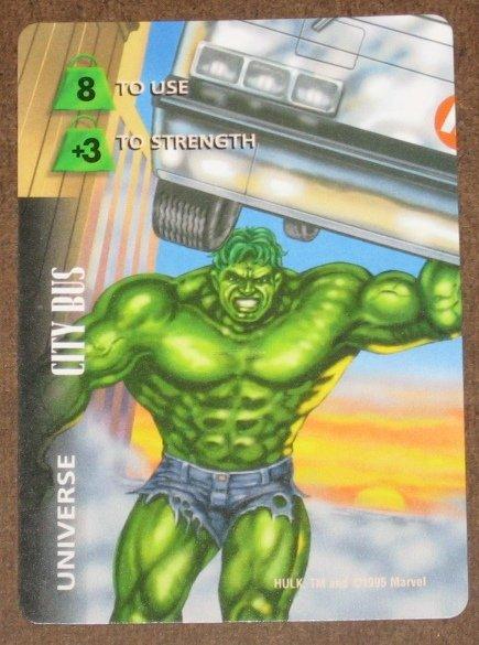 Marvel OverPower (Fleer 1995) - Universe City Bus Hulk Card EX-MT