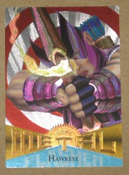 Marvel Metal (Fleer 1995) Silver Flasher Card #22- Hawkeye VG