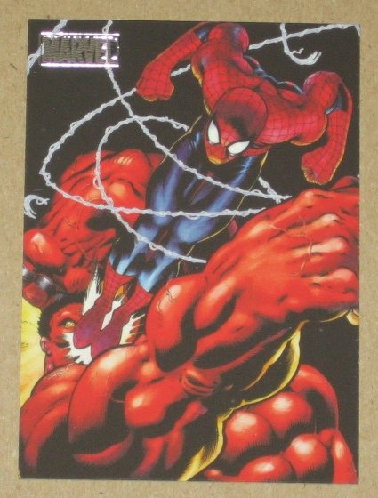 Marvel Heroes and Villains (Rittenhouse 2010) Parallel Card #58- Spider-Man vs. Red Hulk NM